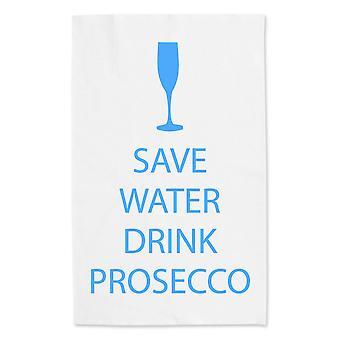 Сохранить воду напиток Просекко белым полотенцем синий текст