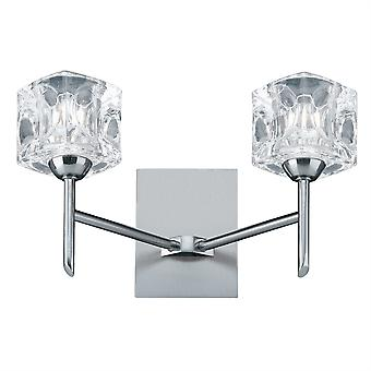 Ice Cube Satin Silber und Glas LED Wandleuchte - Searchlight 4342-2-LED