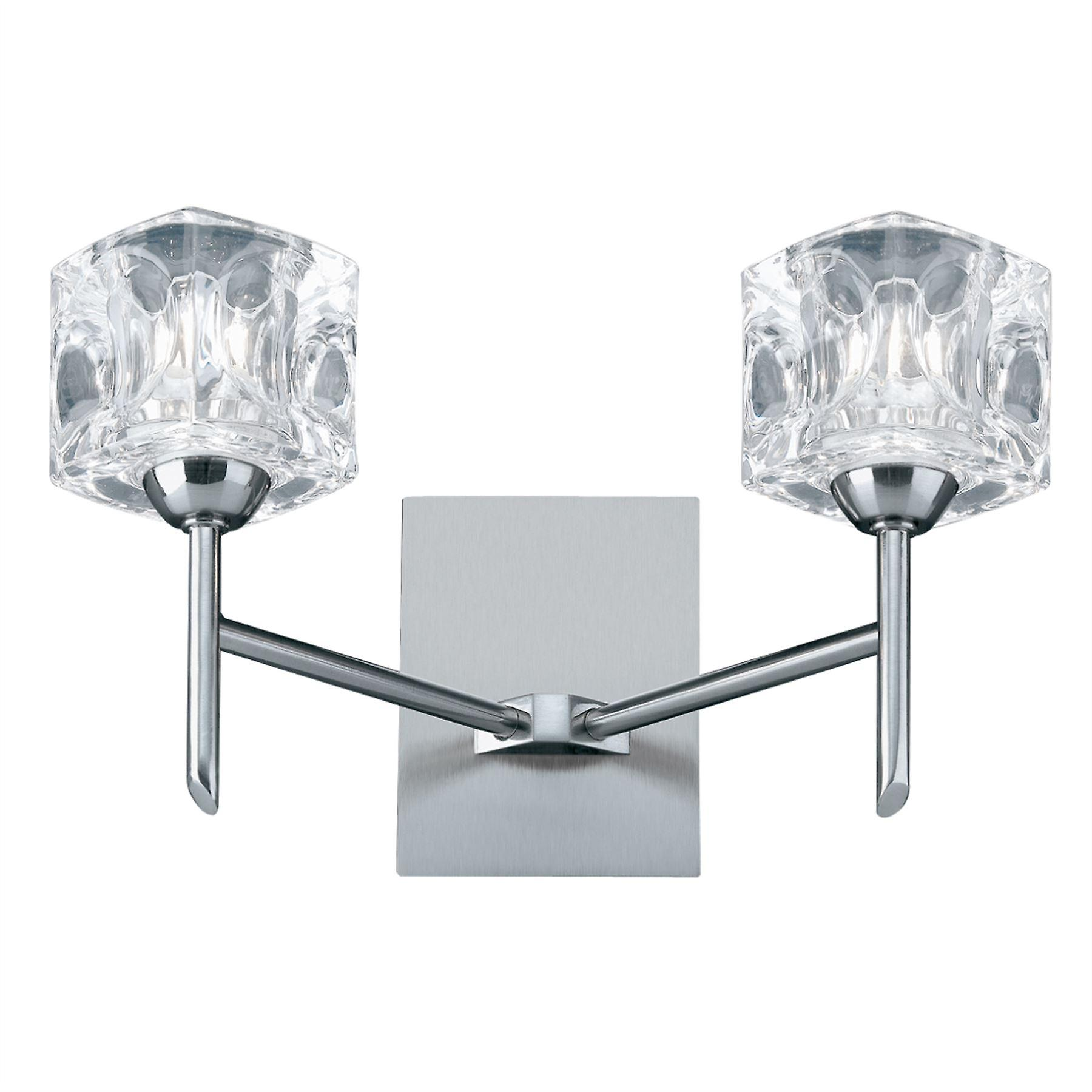 Ice Cube Satin argent And Glass LED Wall lumière - Searchlumière 4342-2-LED
