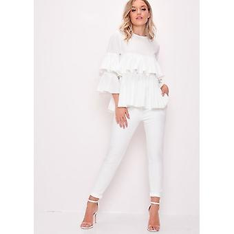 Pleated Tiered RuffleFrill Blouse White