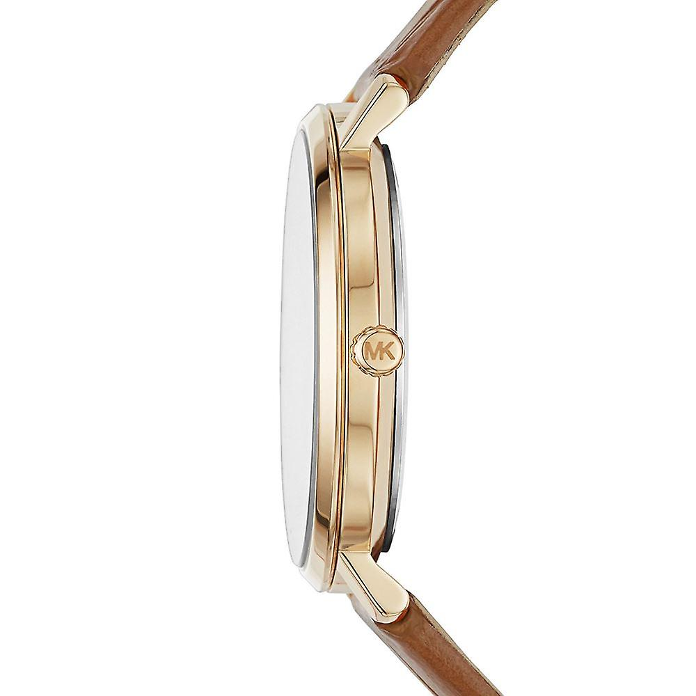 Michael Kors Womens Jaryn Rose Gold Tone Brown Leather Wrist Watch