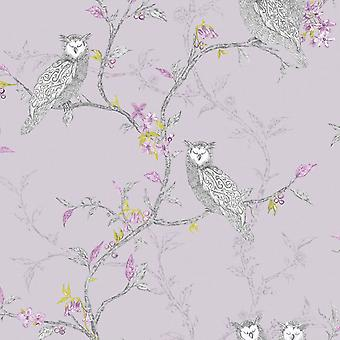 Owls Birds Tree Woodland Floral Wallpaper Metallic Shimmer Heather Lilac Purple