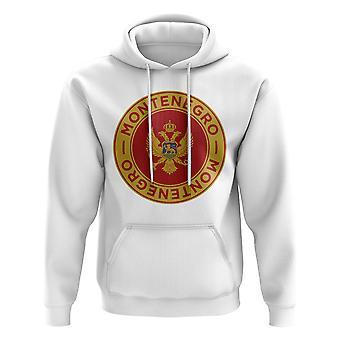 Sudadera con capucha del fútbol insignia Montenegro (blanco)