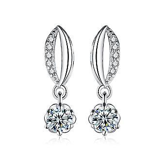 925 Sterling Silver Eye Shape Pave Drop Flower Earrings