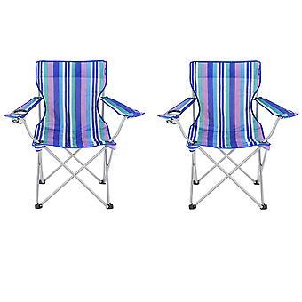 2 krzesła składane Beach Yello dla Camping, połowów lub Beach - niebieskie pasy