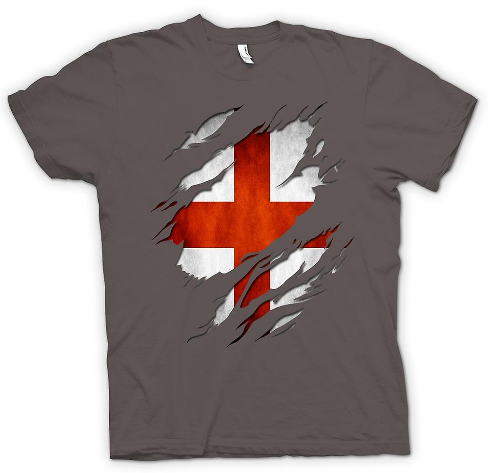 Womens T-shirt - St Georges English Flag Ripped Effect