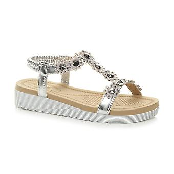 Ajvani womens low wedge heel flatform diamante flower t-bar slingback sandals
