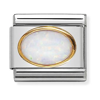 Nomination Classic Oval Stone Steel, White Opal and 18k Gold Link Charm 030502/07