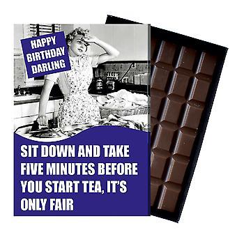 Grappige gift van de verjaardag voor vrouwen vriendin of vrouw boxed chocolade wenskaart aanwezig CDL210