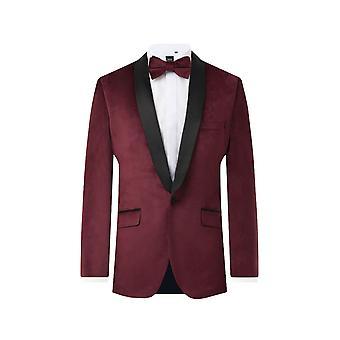 Dobell Mens Burgund samt 2 Stück Tuxedo regelmäßige Fit Kontrast Schal Revers