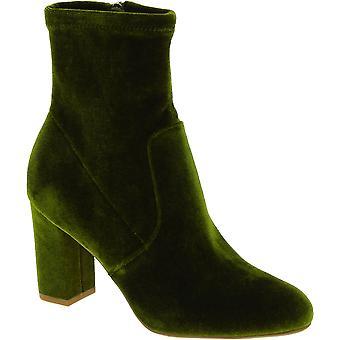 Steve Madden Donne's moda tacco blocco stivaletti stivaletti zip in velluto verde
