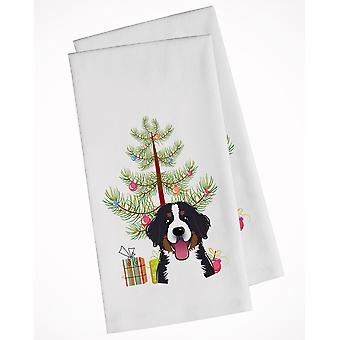 Christmas Tree and Bernese Mountain Dog White Kitchen Towel Set of 2