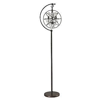 Restoration globe 3-light floor lamp with crystal