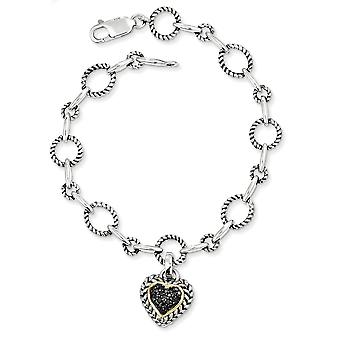 925 Sterling Silver Textured Polished Prong set Antique finish Lobster Claw Closure 14k Yellow Black Diamond Heart 7.5 I