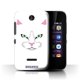 STUFF4 Case/Cover for Nokia Asha 230/White Cat/Animal Faces