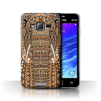 STUFF4 Tilfelle/Cover for Samsung Z1/Z130/elefant-Orange/Aztec dyr
