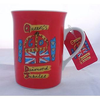 Diamond Jubilee Ceramic Red Mug with Coaster Set