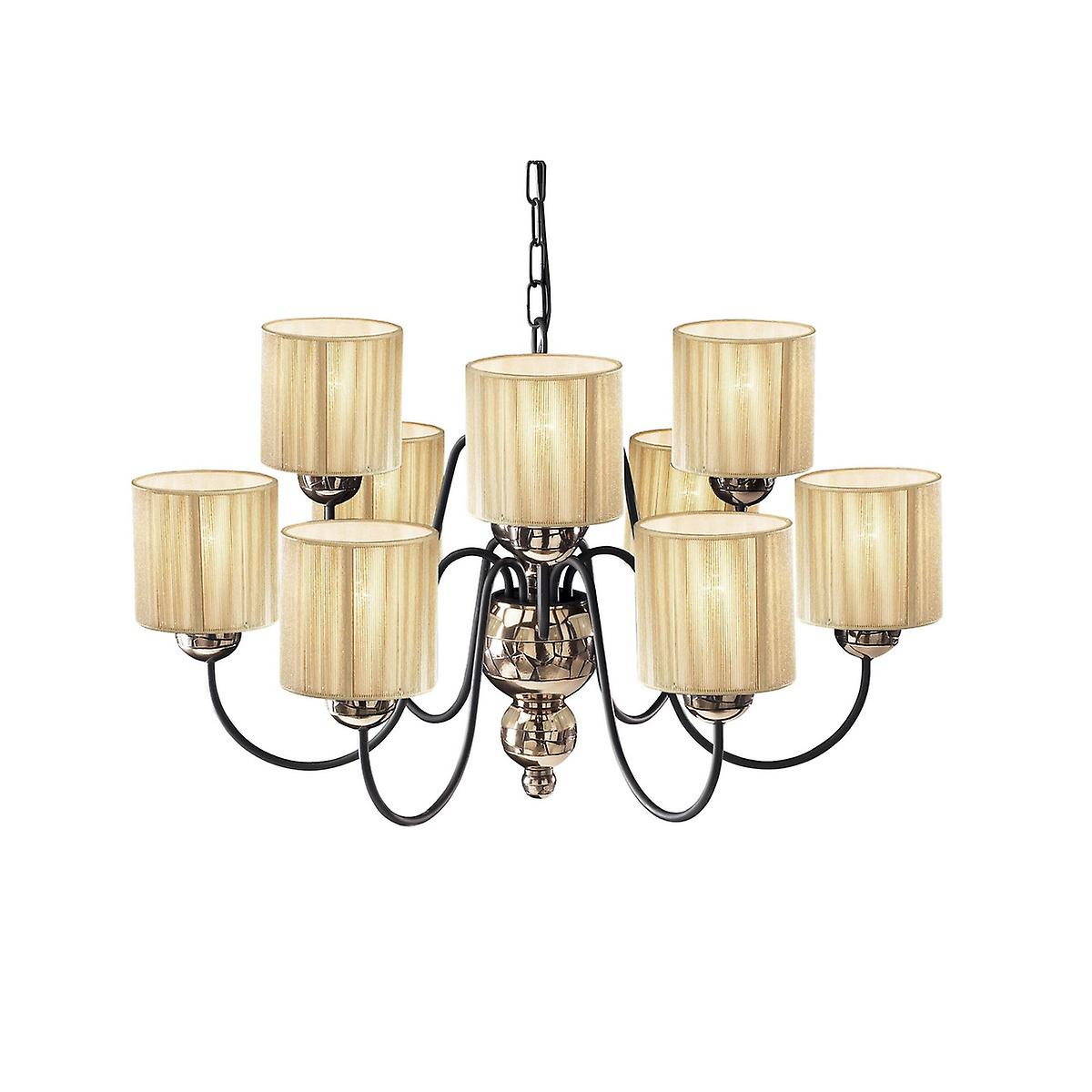 David Hunt GAR1364 Garbo 9 Light Pendant In A Bronze Finish With Gold String Shades