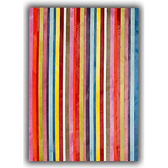 Rugs - Patchwork Leather Cowhide - Multi Colour Vertical Stripes