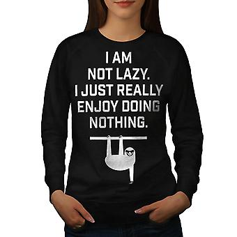 Sloth Lazy Joke Funny Women Black Sweatshirt | Wellcoda
