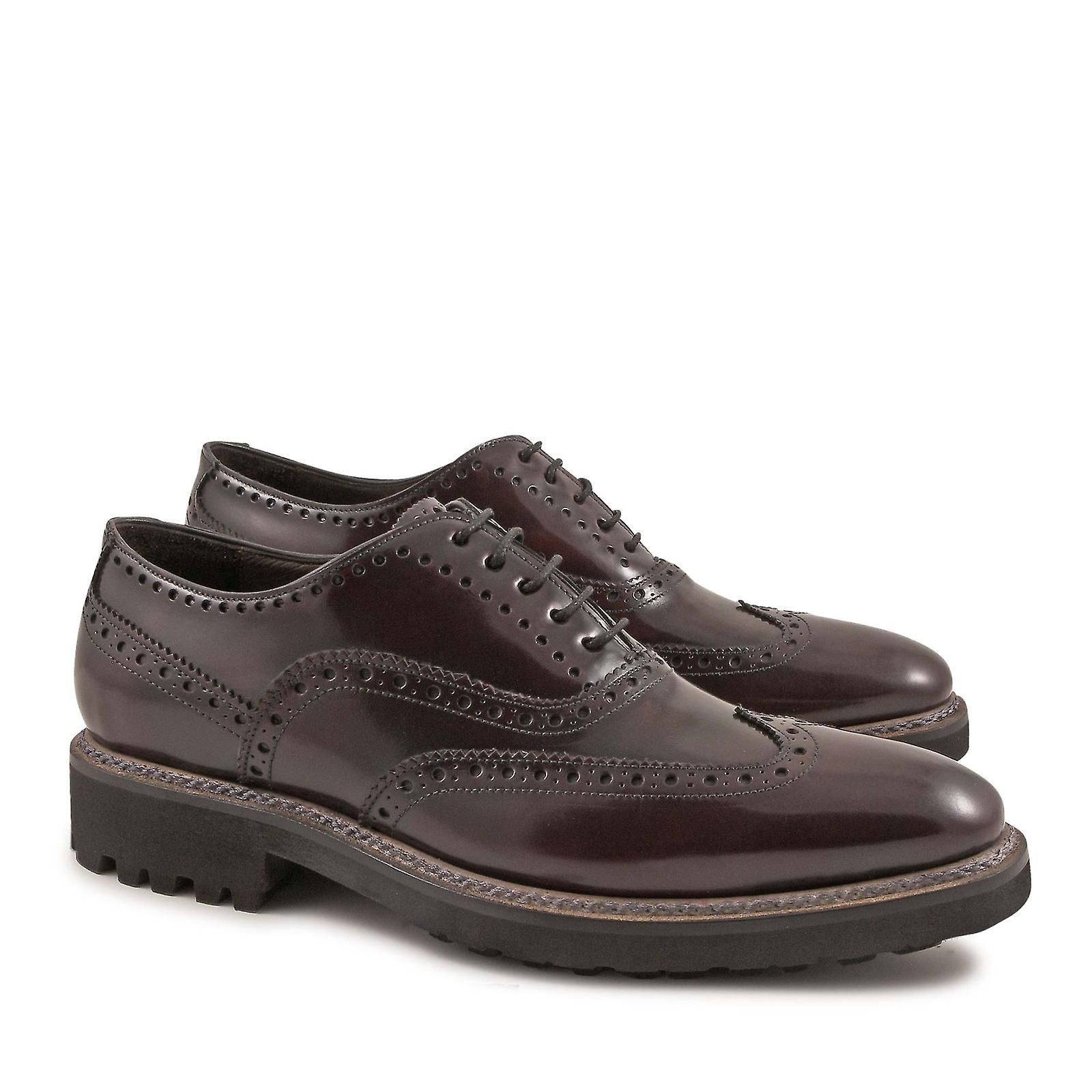 Handmade brogue calf shoes in burgundy lux calf brogue leather 17cc67