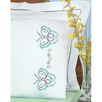 Stamped Pillowcases W/White Perle Edge 2/Pkg-Butterflies 1600 699