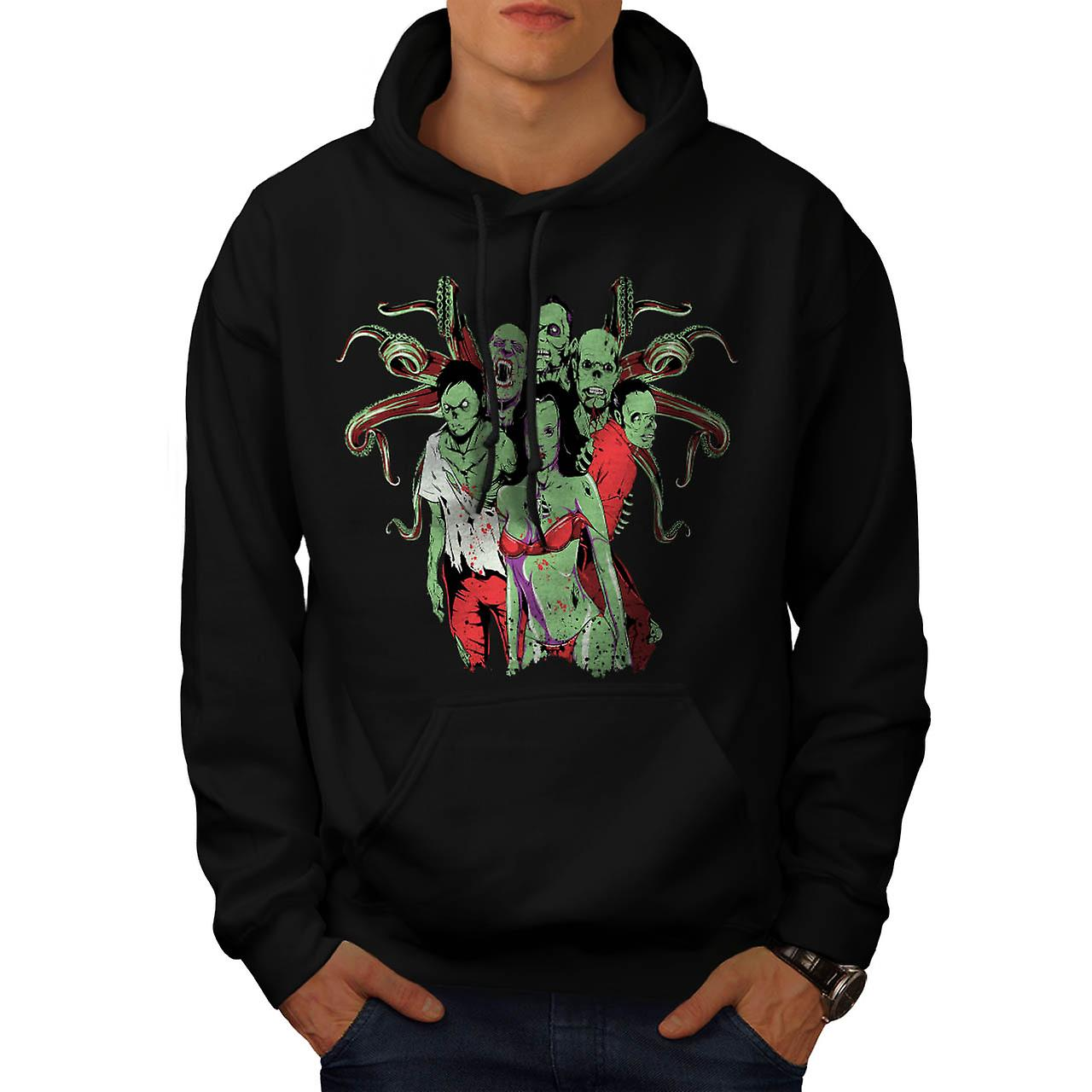 Team Zombie Dead Gang Eat Flesh Men Black Hoodie | Wellcoda