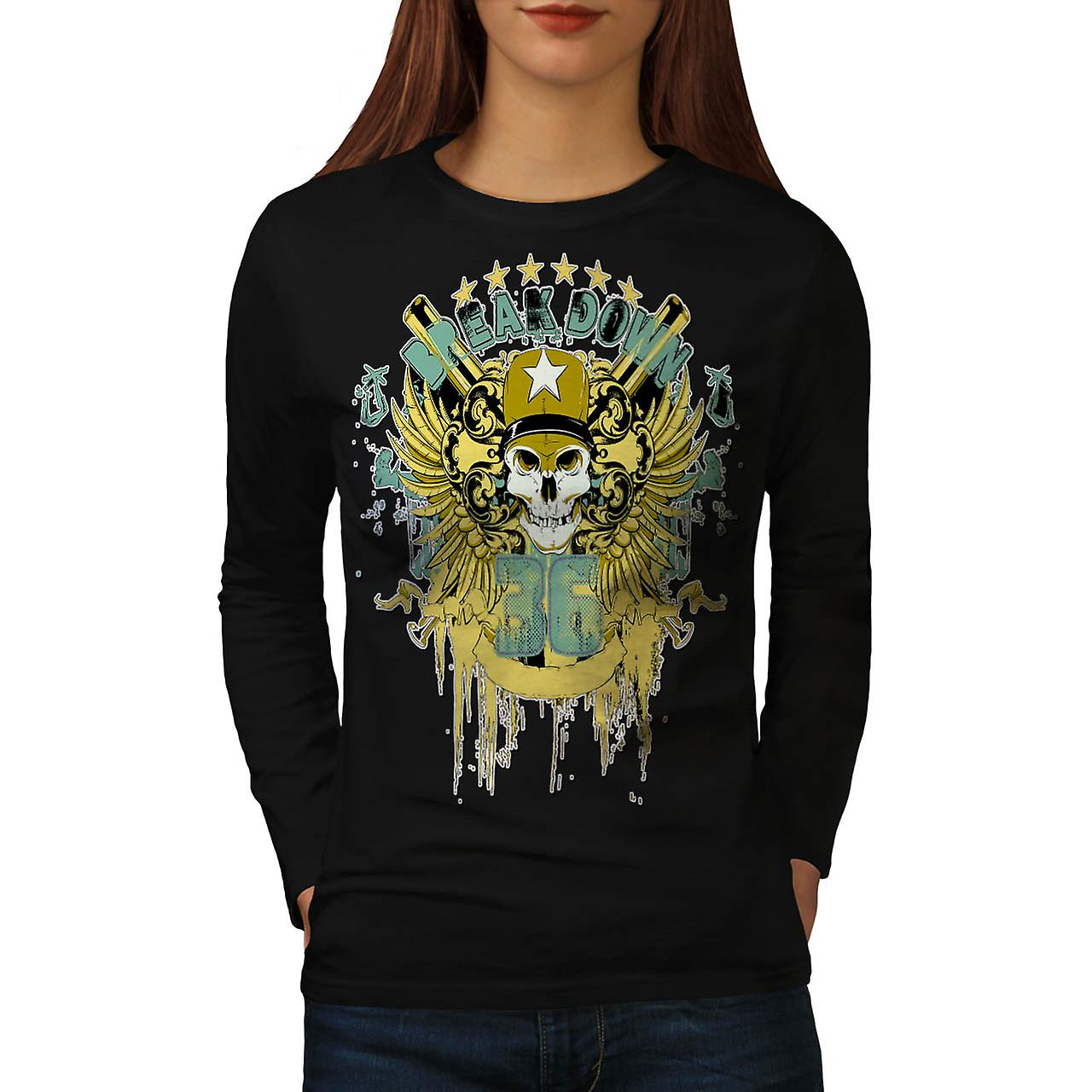 Army Breakdown Dead Skull Women Black Long Sleeve T-shirt | Wellcoda