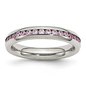 Stainless Steel Polished 4mm October Pink Cubic Zirconia Ring - Ring Size: 6 to 9
