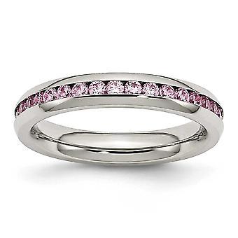 4 mm 10 月ピンクのキュービックジルコニア リング - 指輪のサイズを磨かれたステンレス鋼: 6 に 9