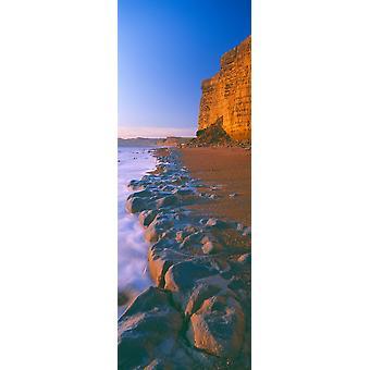 Ved stranden Burton Bradstock Dorset England plakatutskrift