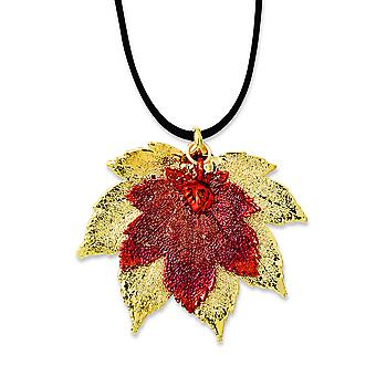 24k Gold Iridescent Copper Dipped Double Full Moon Maple Leaf Necklace - 20 Inch