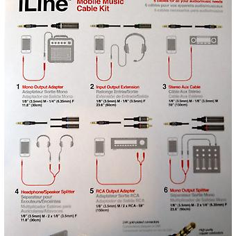 IK Multimedia iLine - mobile music KIT 6 x 3, 5 mm aux cable splitter adapter RCA