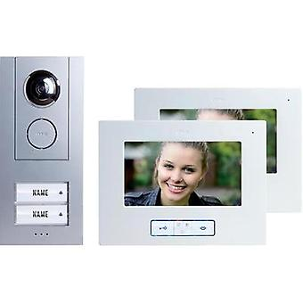 Video door intercom Corded Complete kit m-e modern-electronics Vistus VD 6720 Semi-detached Silver, White