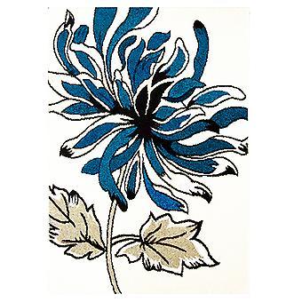 Blå & creme blomster moderne tæppe Bombay