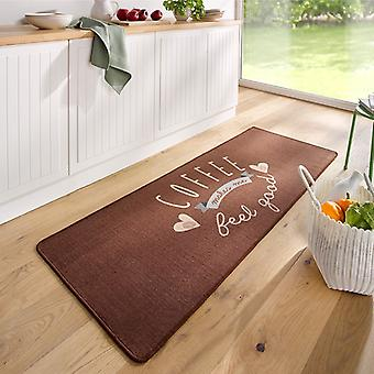 Design suede kitchen runner coffee makes me feel good Brown 67 x 180 cm
