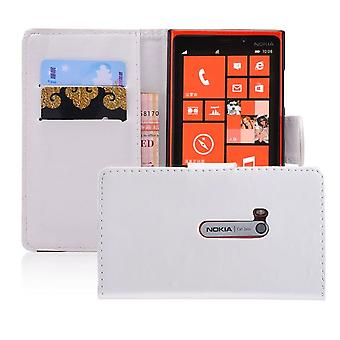 Book wallet PU leather case cover for Nokia Lumia 920 + Stylus - White