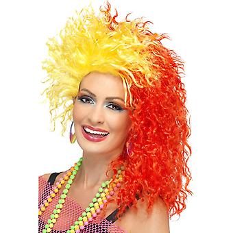 80's amusing girl curled wig red with a yellow slip