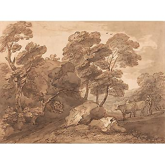 Thomas Gainsborough - Landscape with Cows Poster Print Giclee