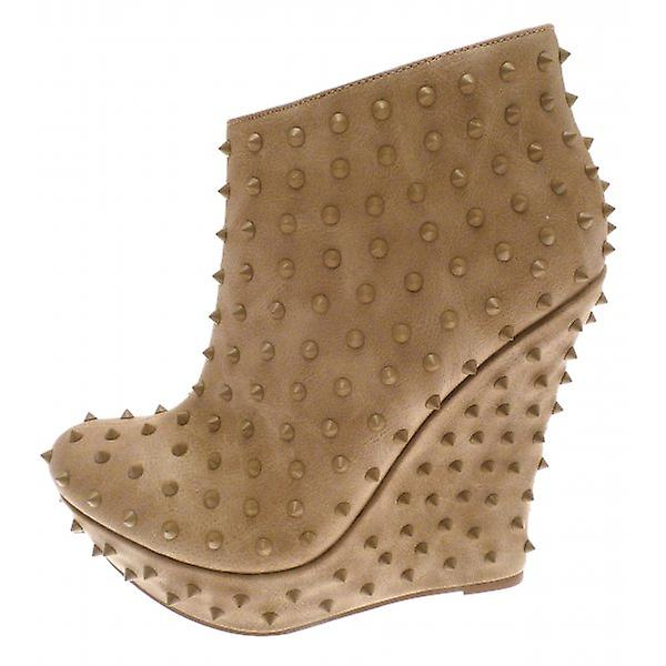 W.A.T Taupe Studded Wedge Boots