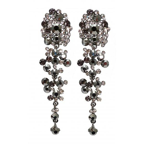 W.A.T Long Black AB And Clear Graduated Cluster Fashion Earrings