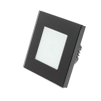 I LumoS Black Glass Frame 1 Gang 1 Way Remote & Dimmer Touch LED Light Switch White Insert