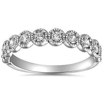 1/2ct Diamond Ring Vintage Beaded Womens Wedding Band Antique 14k WG