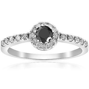 1ct Black & White Diamond Engagement Halo 14K White Ring Round Cut