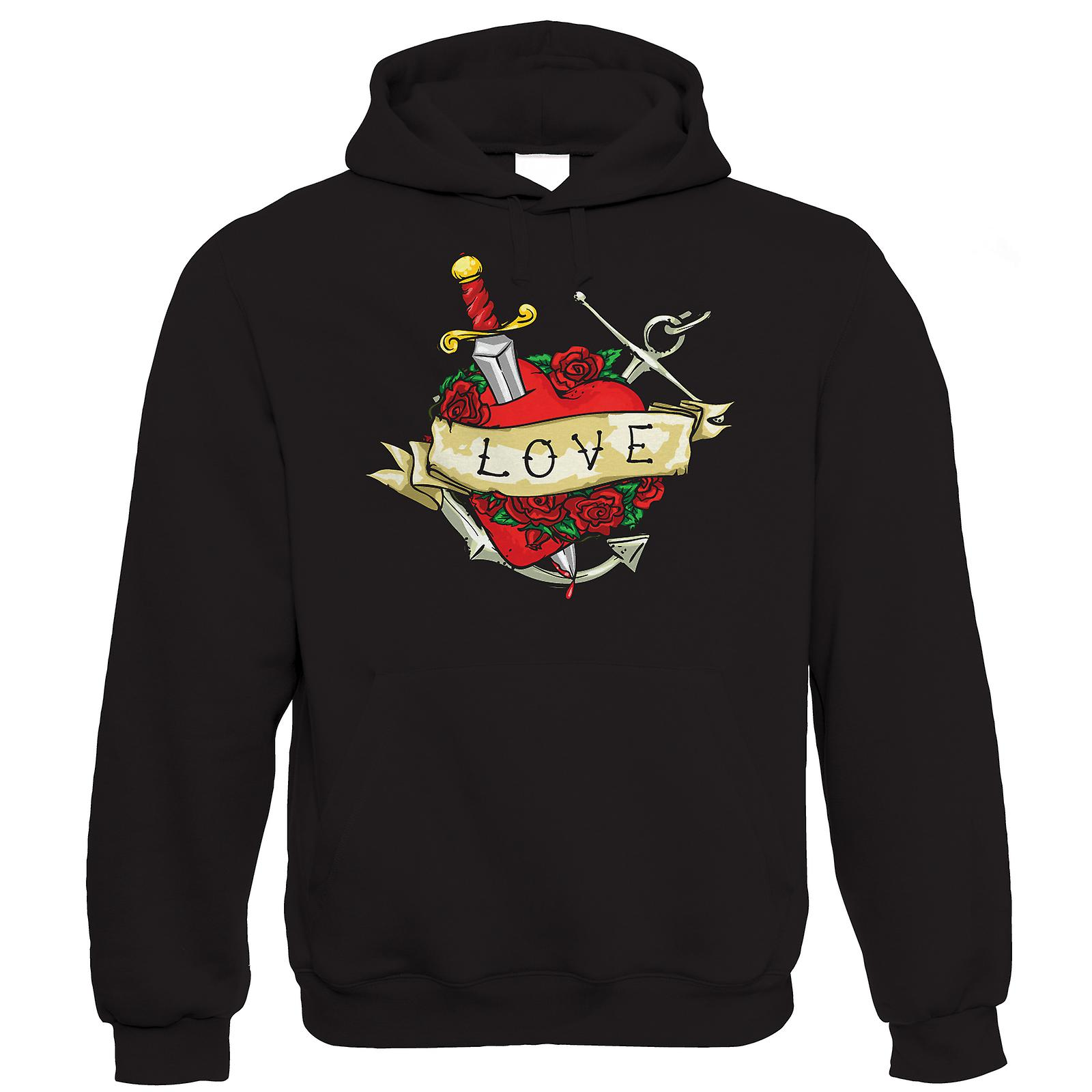 Tatto Love Heart Mens Hoodie (S to 5XL)