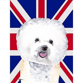 Bichon Frise med engelsk Union Jack britiske flagg flagg House lerretet