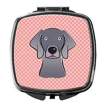 Carolines Treasures  BB1231SCM Checkerboard Blue Weimaraner Compact Mirror