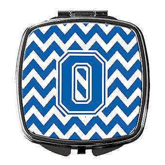 Carolines Treasures  CJ1056-OSCM Letter O Chevron Blue and White Compact Mirror