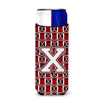 Letter X Football Cardinal and White Ultra Beverage Insulators for slim cans