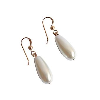 GEMSHINE ladies earrings with white pearls drop. 2.5 cm long high-quality gold-plated earrings - made in Munich / Germany - the elegant jewelry with gift box delivered.